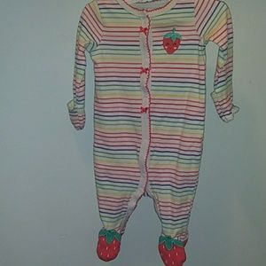 Carter's strawberry rainbow pajama with mitten